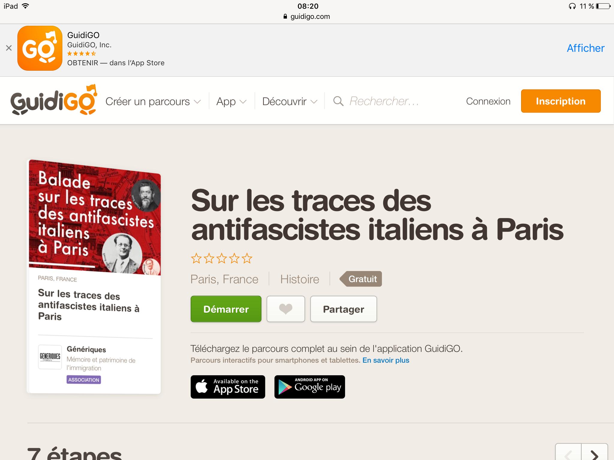 Parcours Antifasciste Italien dans Paris par l'Association GÉNÉRIQUE.