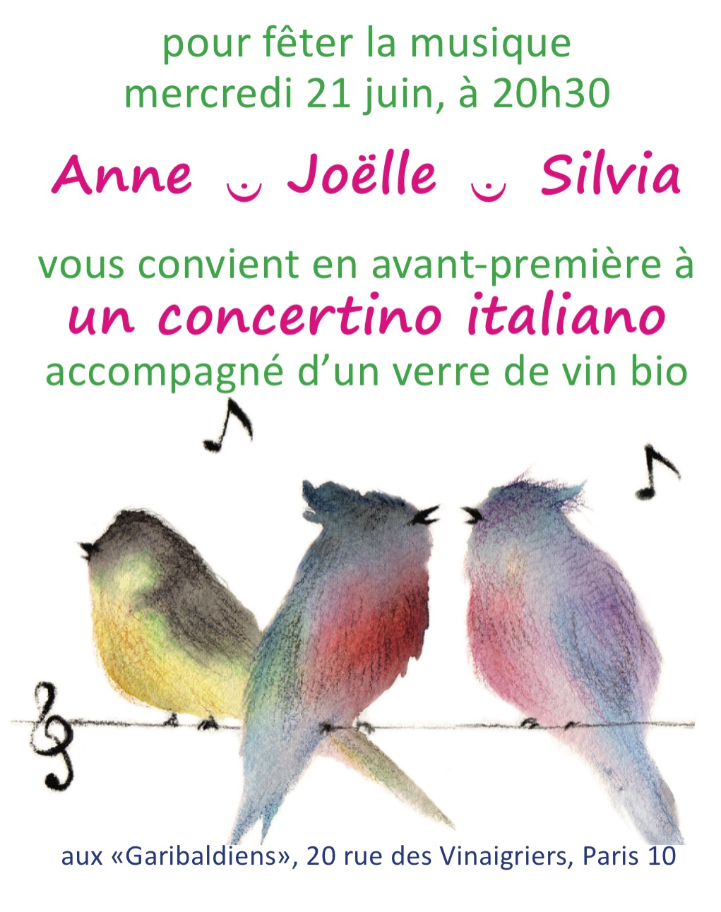 La Fete de la musique aux GARIBALDIENS avec Silvia MALAGUGINI