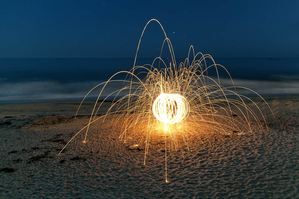 Steel Wool Sparks on the Beach