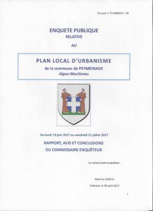 Rapport d'enquête Publique sur le nouveau PLU