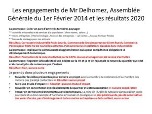 LES ENGAGEMENTS DU CANDIDAT DELHOMEZ EN 2014 ET LES RESULTATS EN 2020