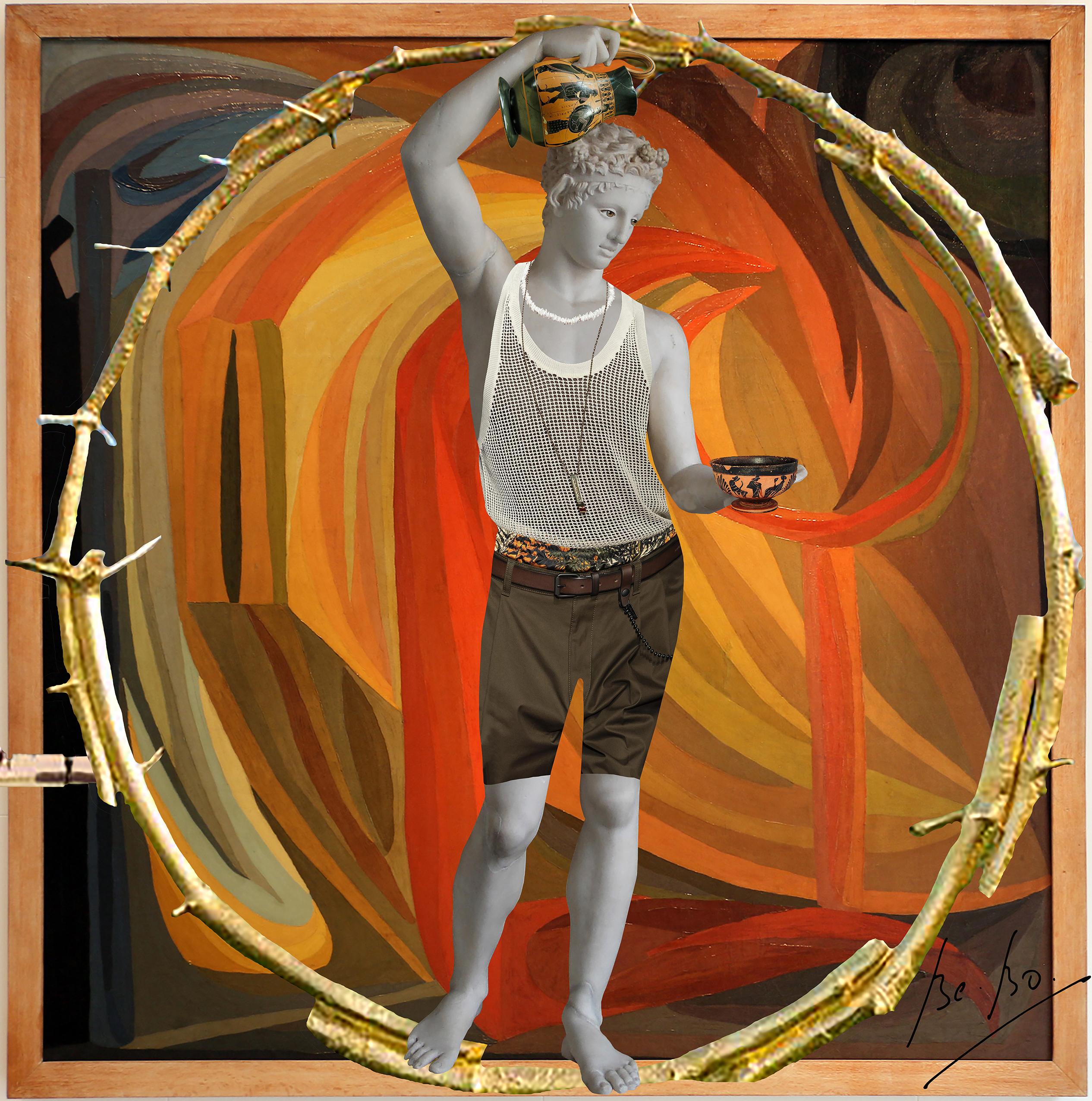 Satyre verseur avec toile d'Otto Freundlich accompagné de l'oeuvre d'Ugo Rondinone