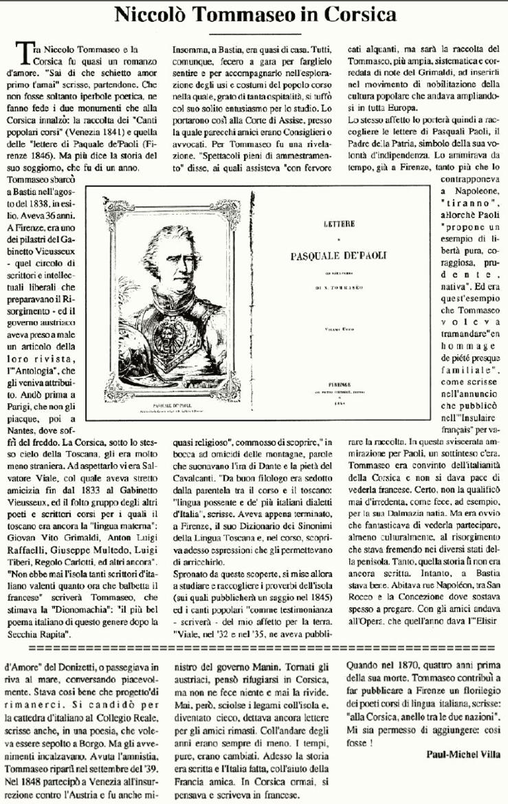 Niccolò Tommaseo in Corsica