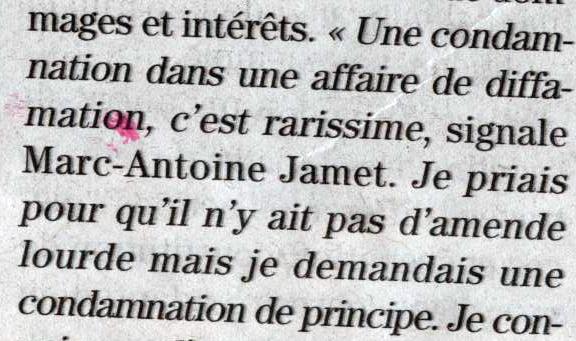 Dans le monde ou vit Jamet, on prie... pour une condamnation de principe, une bagatelle, trois fois rien. Dans le monde réel, c'est plus de 20 000 euros