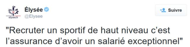 Re-tweet de l'Elysée