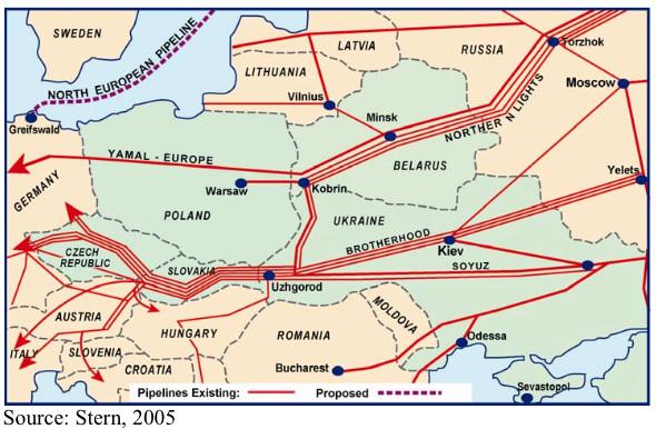 Carte de 2005 présentant le réseau de gazoducs en Europe. Crédit Jonathan Stern