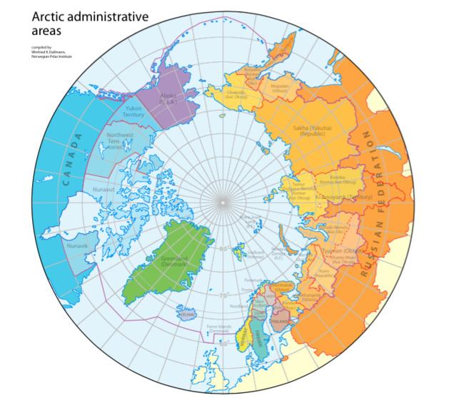 Régions administratives de l'Arctique. Crédit : Compiled by Winfried K. Dallmann, Norwegian Polar Institute / Arctic Council