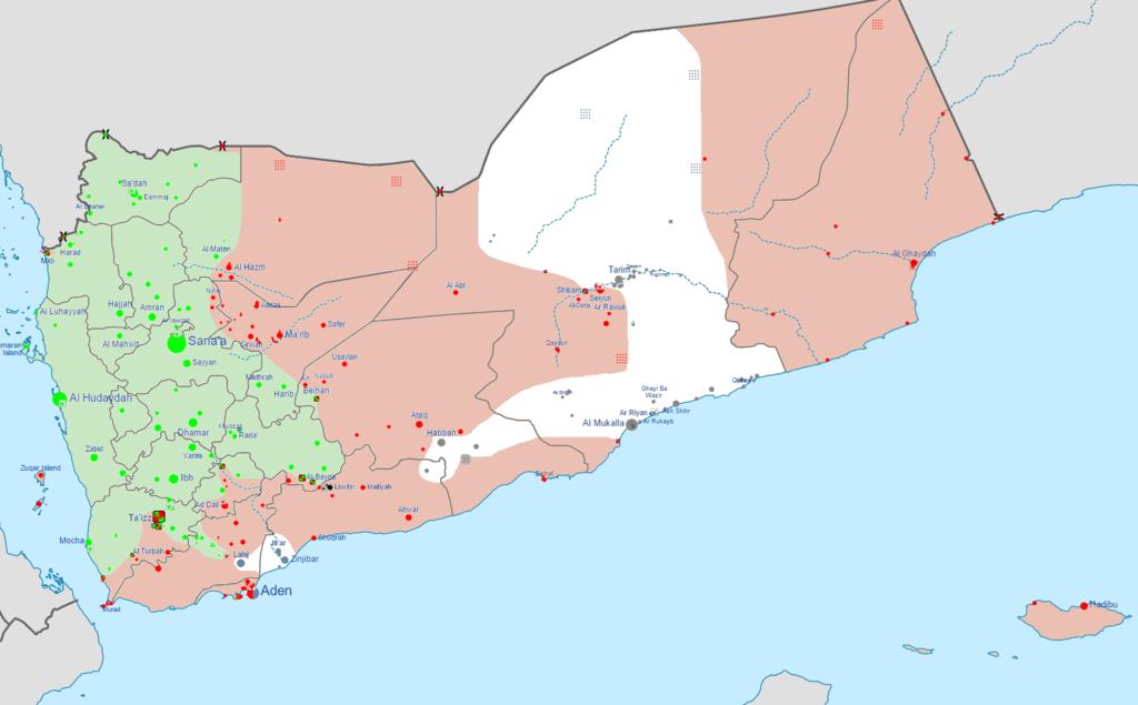 Carte du Yémen de février 2016 montrant en vert les territoires sous contrôle des Houthis et des loyalistes d'Ali Abdullah Saleh ; en rouge les loyalistes de Abd Rabbo Mansour Hadi ; en blanc AQPA et en gris les positions de l'EI. Crédit : 0ali1 (contributeur Wikimedia Commons, licence CC BY-SA 4.0).