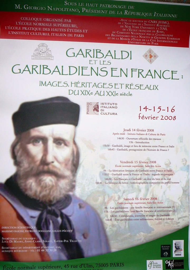 Colloque : Garibaldi et les Garibaldiens en France. Par Gilles PECOUT de l'école normale supérieure