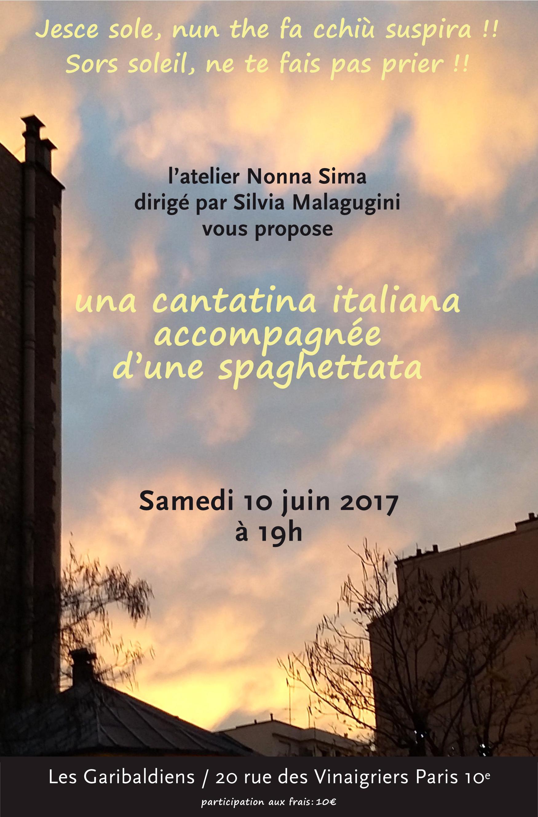 Invitation à 2 concerts avec pasta au local des Garibaldiens par Silvia MALAGUGINI
