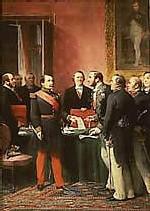 Napoléon III remettant au baron Haussmann le décret d'annexion des communes limitrophes (Adolphe YVON)