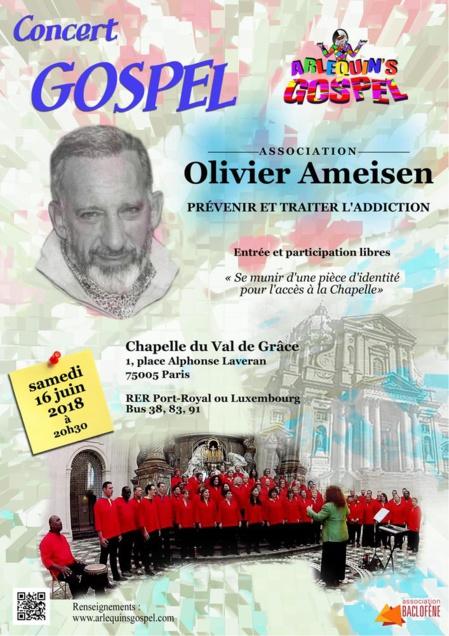 Concert Gospel. Olivier Ameisen. Samedi 16 juin à 20h30