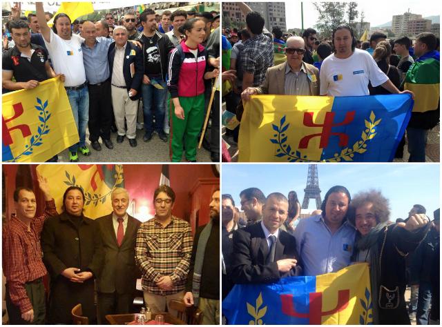 Yuva n Tala Hamu lors du premier lever du drapeau kabyle en Kabylie le 20/04/2015 et à Paris le 18/04/2015 (PH/SIWEL)