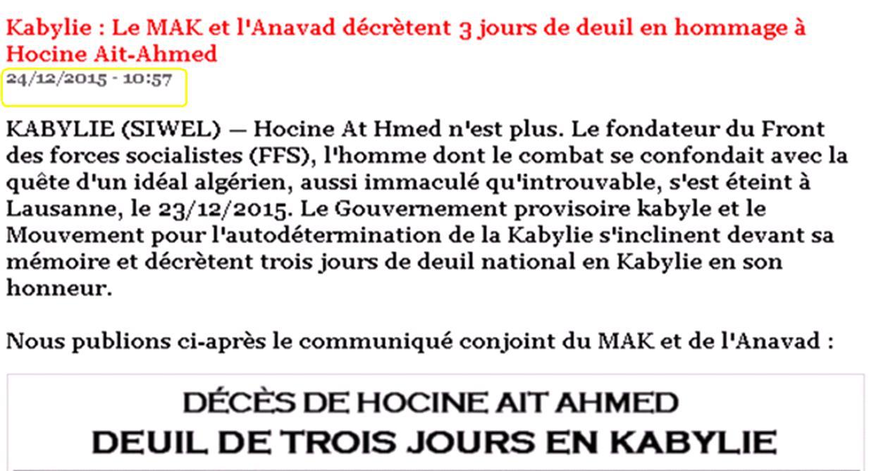 Capture d'écran de l'Agence kabyle d'information Siwel