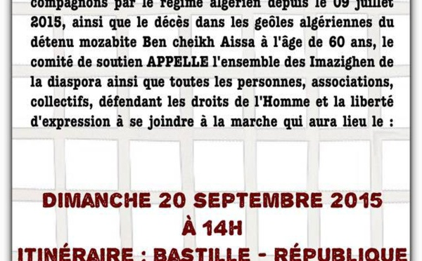 Paris : Une marche pour exiger la libération du  Dr Fekhar et de ses codétenus le 20 septembre à 14h