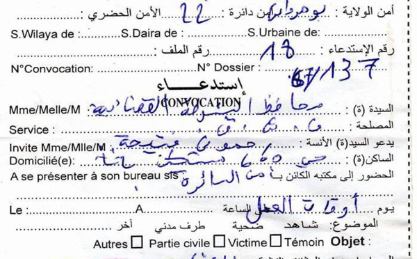 L'avocate de Fekhar, Fatiha Rahmouni, convoquée par la police